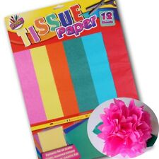 ASSORTED COLOUR TISSUE PAPER Bright/Vivid 12 Large Sheets Art/Craft/Card Making