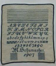 GROSSES ANTIKES STICKMUSTERTUCH 1907 KREUZSTICH besonders fein