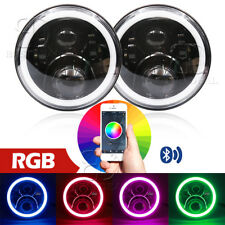 """7""""  LED RGB Halo Ring DRL Headlamp Headlights Light for Chevy Pickup Truck 3100"""