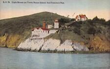 LIGHT HOUSE ON YERBA BUENA ISLAND SAN FRANCISCO BAY CALIFORNIA POSTCARD (c 1910)