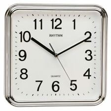 Rhythm Plastic Square with 3D Numerals Silver 25cm Wall Clock Clear Bold Face