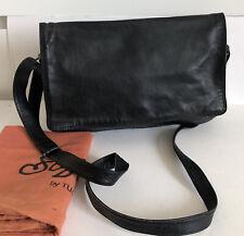 Vintage Tula Soft Leather Cross Body Bag Black