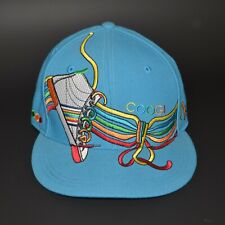 "Coogi Fitted Baseball Hat 7 3/8"" Blue w/ Sneaker Multi Colored Embroidered euc"