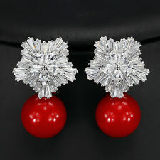 Boucles d'Oreilles Clous Argenté CZ Fleur Neige Perle Rouge Mariage Retro G2
