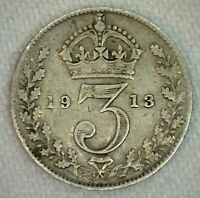 1913 Great Britain Threepence 3 Pence Coin Silver Very Fine