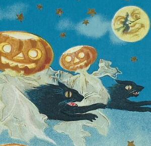 Flying JOL Ghosts Man Moon Witch Black Cat Ghost Halloween Border Embossed PC