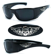 Choppers Mens Motorcycle Sunglasses + Free Pouch - Shiny Black ( Skull Logo) C42