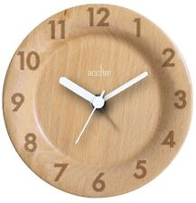 Acctim Epping Round Table or Mantel Clock in Natural Wood Finish