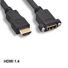 Kentek 10' Panel-Mount HDMI 1.4 Extension Cable 4K 3D Ethernet Faceplate Panels