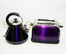 Juego De Cocina Eléctrico Hervidor Inalámbrico 1.8L Set 2 Rebanada Tostadora Bagel púrpura