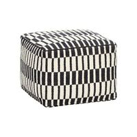 Square Cotton Pouffe in Black & White Pattern Danish Design by Hubsch