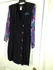 All That Jazz Little Black Dress with Lovely Sheer Floral Sleeves - Size 13/14