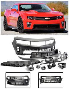 For 10-13 Camaro ZL1 Style Front Bumper Cover Upper Lower Grille Fog Lights