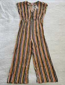 NEW WOMEN'S 6 MADEWELL V-NECK BUTTON FRONT JUMPSUIT IN RAINBOW STRIPE