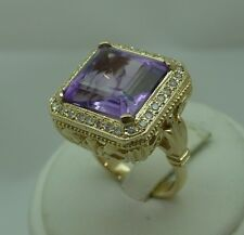 10.60 ctw New AMETHYST & DIAMOND 14K Gold COCKTAIL RING Antique Style