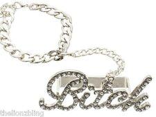 Hip Hop Fashion 3 Finger Silver Metal Crystal Bling BITCH Ring & Bracelet Leash