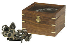 "Small Brass Ship's Sextant In 6"" Wooden Case Nautical Marine Desk Top Decor New"