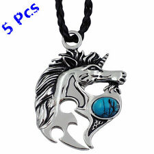 Wholesale 5 Pcs Silver Unicorn Horse Turquoise Men Women Pendant Necklace WP201