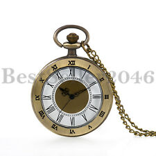 Vintage Men Women Roman Numerals Scale Quartz Open Face Pocket Watch with Chain