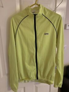 LUSSO L Men's Neon Yellow Zip Up Cycle Top Back Pockets