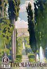 "Vintage Illustrated Travel Poster CANVAS PRINT Tivoli Italy 24""X18"""