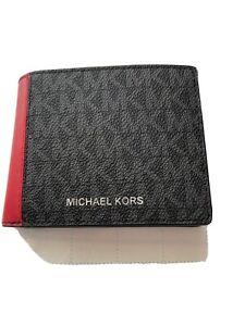 New! Michael Kors Men's Cooper black/red W/MK logo Leather Slim Billfold Wallet