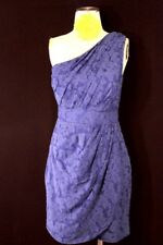 SHOSHANNA LAPIS BLUE SILK TEXTURED ONE SHOULDER DRESS SZ6 NWT $385