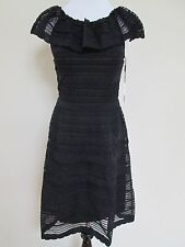 NWT Auth M Missoni Black Knit Stripe Overlay Ruffle Shift Dress Sz 46 10 $795