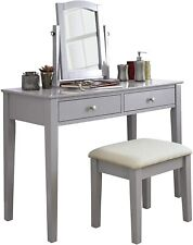 GFW Hattie Grey Dressing Table Set with Mirror and Stool, Grey