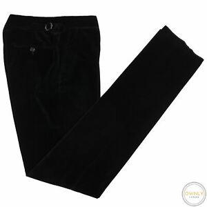 NWT Ralph Lauren Purple Label Black Cotton Velvet Italy Side Adjusters Pants 34W