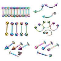 9Pcs Titanium Body Piercing Jewelry Eyebrow Navel Belly Tongue Bar Lip Ring