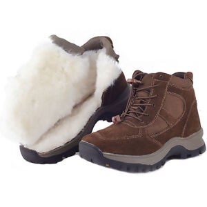 Men's winter snow boots real leather wool fleece lined shoes outdoor water proof