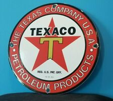 VINTAGE TEXACO GASOLINE PORCELAIN METAL SERVICE STATION PUMP PLATE AD SIGN