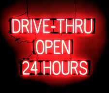 SpellBrite Ultra-Bright Drive-Thru Open 24 Hours Sign Neon look Led performance
