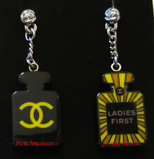 AUTHENTIC CHANEL CC Logo Dangle Earrings No. 5 Perfume Mini Bottle LADIES FIRST