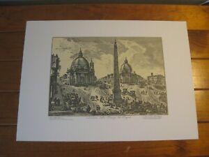 Vintage Italian Print (G.B. PIRANESI) Verdute Della Piazza del Popolo