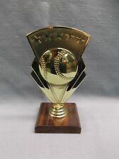 star and ball gold Baseball theme trophy award walnut finish wood base