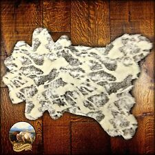 Premium Faux Fur Cowhide Rug - Plush Shag Throw - Gray and Off White Spotted Cow