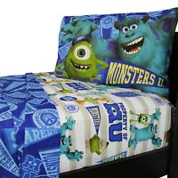 3pc MONSTERS UNIVERSITY TWIN BED SHEETS SET - Mike Sully Scare U Pennant Bedding