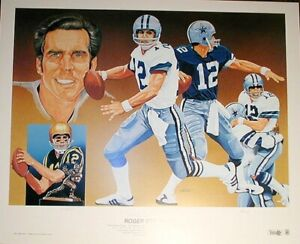 Roger Staubach autographed signed Dallas Cowboys Vernon Wells lithograph #/750