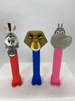 PEZ Madagascar Alex the Lion Gloria Hippo Marty Zebra Retired Dispenser Lot of 3