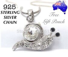 Cute Crystal Snail Pendant 925 Sterling Silver Chain Necklace Women's Gift New