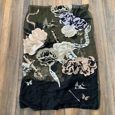 ALEXANDER MCQUEEN Floral Snake Skull Print Silk Embroidered Scarf Thorn In Heart