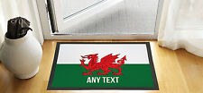 "24"" X 16"" PERSONALISED WELSH FLAG DESIGN ENTRANCE DOOR MAT NON SLIP ADVERTISING"