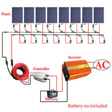 ECO 800W Off Grid Kit  8x 100W Solar Panel with 3KW Power Inverter 12V Home RV