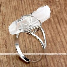Healing Chakra Gemstone Finger Ring Wire Wrap Opaque Rock Quartz Crystal Ring