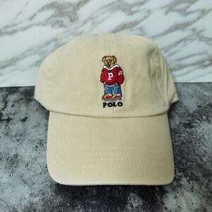 Rare Adjustable Polo RL Baseball Cap Hoody Teddy Bear Vintage Beige Khaki Hat
