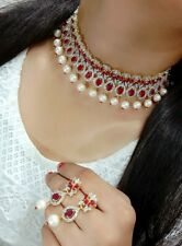 Indian Bollywood Choker Pearl Mala AD Necklace Gold Plated Earring Wedding Gift