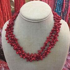 New fashion Natural Red Coral Water-drop Beads Necklace 7x12mm