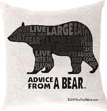 "ADVICE FROM A BEAR Large Throw Pillow, 17"" x 17"", by Manual Weavers"